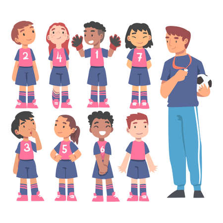 Kid Soccer Players Team with Coach Trainer, Group of Kids in Sports Uniform Training in School Sports Team or Football Academy Concept Cartoon Vector Illustration Иллюстрация