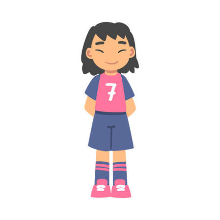 Cute Kid Soccer Player Character, Little Girl in Red and Blue Sports Uniform Playing Football, School Sports Activity, Football Academy Concept Cartoon Style Vector Illustration