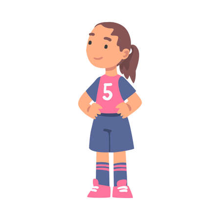 Cute Kid Soccer Player Character, Little Girl in Red and Blue Sports Uniform Playing Football Cartoon Style Vector Illustration