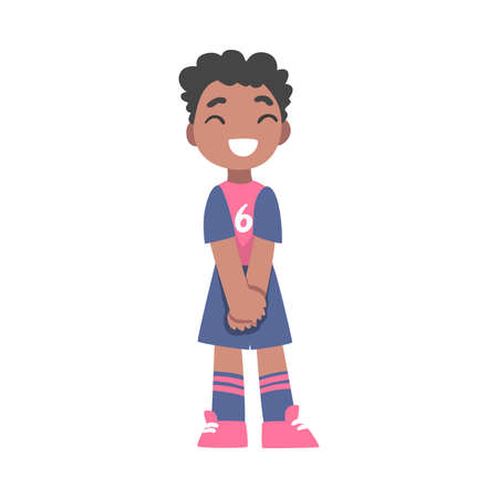 Cute Kid Soccer Player Character, Little African American Boy in Sports Uniform Playing Football in School Sports Team Cartoon Style Vector Illustration Иллюстрация