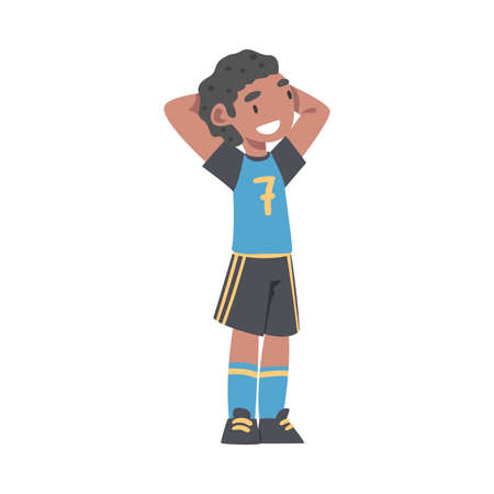 Cute Kid Soccer Player Character, Happy African American Boy in Sports Uniform Playing Football on School Sports Field Cartoon Style Vector Illustration
