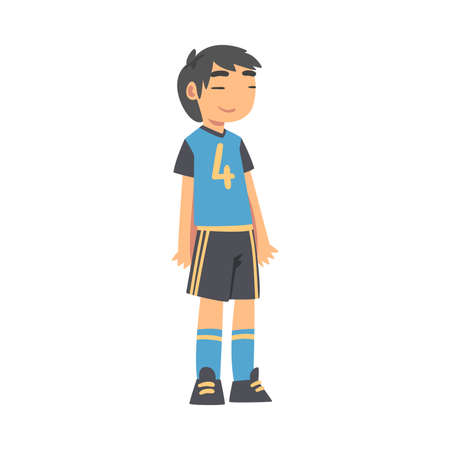 Cute Kid Soccer Player Character, Boy in Sports Uniform Playing Football on School Sports Field Cartoon Style Vector Illustration