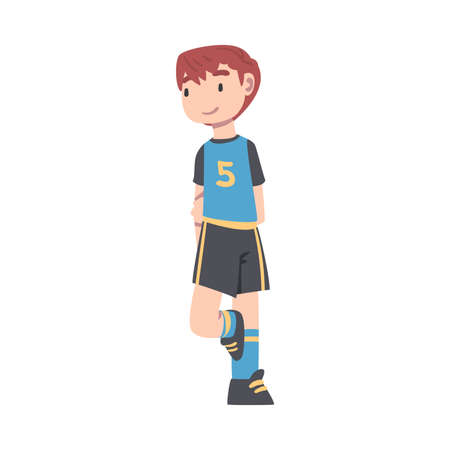 Cute Kid Soccer Player Character, Boy in Black and Blue Sports Uniform Playing Football on School Sports Field Cartoon Style Vector Illustration