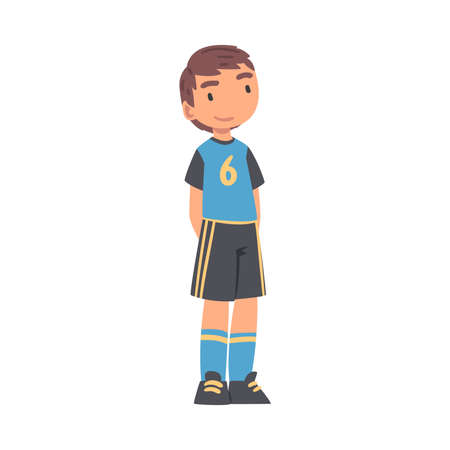 Kid Soccer Player Character, Little Boy in Black and Blue Sports Uniform Playing Football on School Sports Field Cartoon Style Vector Illustration