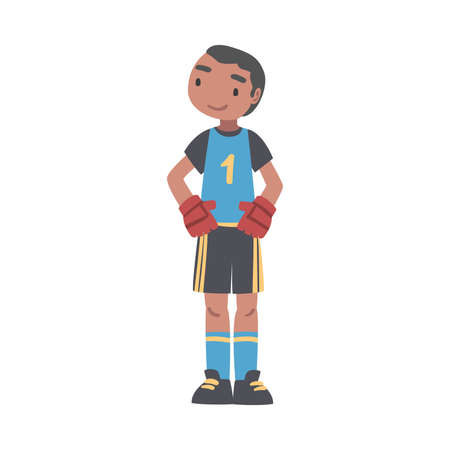 Kid Goalkeeper Soccer Player Character, Little Boy in Black and Blue Sports Uniform Playing Football on School Sports Field Cartoon Style Vector Illustration