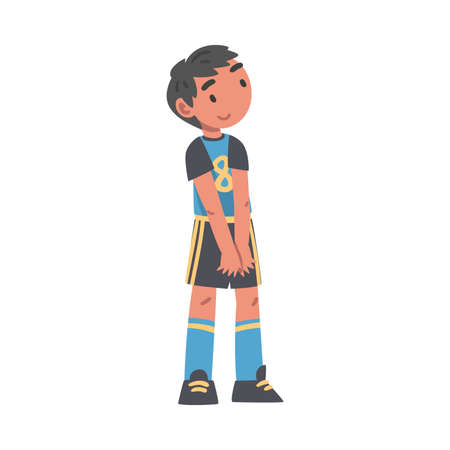 Kid Soccer Player Character, Little Boy in Black and Blue Sports Uniform Playing Football Cartoon Style Vector Illustration Иллюстрация