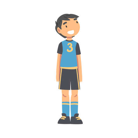 Kid Soccer Player Character, Happy Smiling Little Boy in Black and Blue Sports Uniform Playing Soccer in School Sports Team Cartoon Style Vector Illustration Иллюстрация