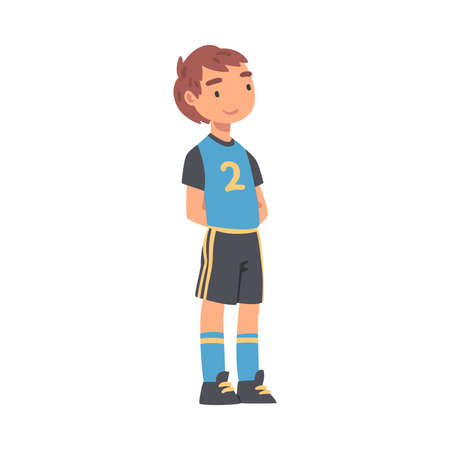 Kid Soccer Player Character, Boy in Black and Blue Sports Uniform Playing Soccer in School Sports Team Cartoon Style Vector Illustration Иллюстрация