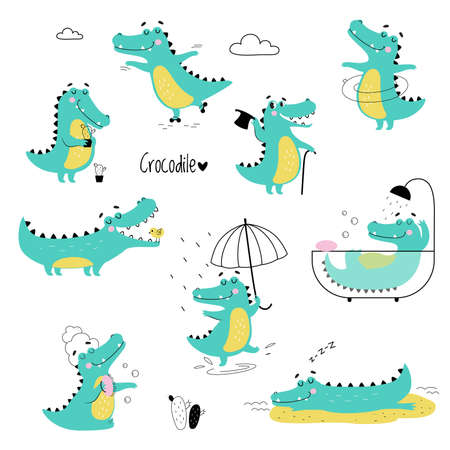 Cute Crocodiles in Different Situations Set, Funny Alligator Predator Animal Character Cartoon Style Vector Illustration