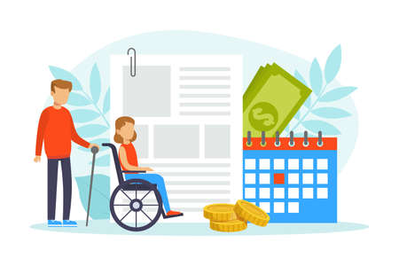 Handicapped People and Financial Support, Medical Health Insurance, Disability Living Allowance Concept Cartoon Vector Illustration