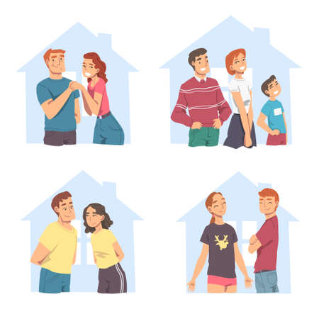 Happy Family Couples Inside Outline House Set, Abstract Real Estate, Smiling People Dreaming about New Dwelling Flat Style Vector Illustration