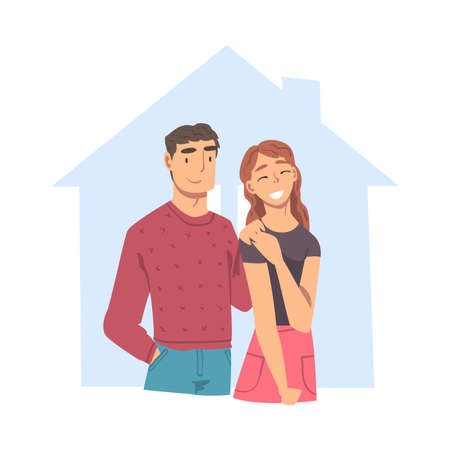 Happy Family Couple Inside Outline House, Abstract Real Estate, Smiling People Dreaming about New Dwelling Flat Style Vector Illustration