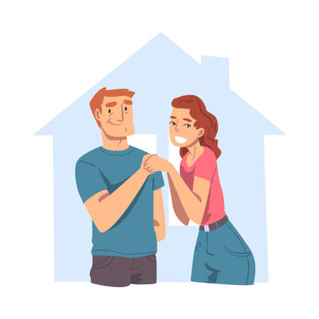 Happy Family Couple Inside Outline House, Abstract Real Estate, Smiling Young Man and Woman Buying or Renting New House Flat Style Vector Illustration