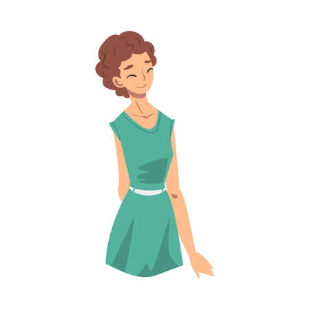 Beautiful Cheerful Young Woman in Stylish Dress Flat Style Vector Illustration