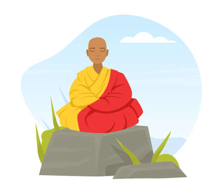 Bald Buddhist Sitting on Stone and Meditating in Yoga Lotus Position Vector Illustration