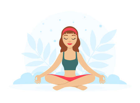 Girl Sitting and Meditating in Yoga Lotus Position with Floral Scenery Vector Illustration Vector Illustratie