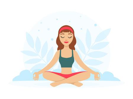 Girl Sitting and Meditating in Yoga Lotus Position with Floral Scenery Vector Illustration Ilustração Vetorial