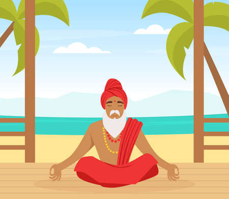 Hindu in Turban Sitting and Meditating in Yoga Lotus Position with Ocean Scenery Vector Illustration