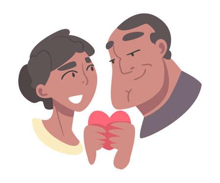 Young Couple in Love Holding Heart Vector Illustration