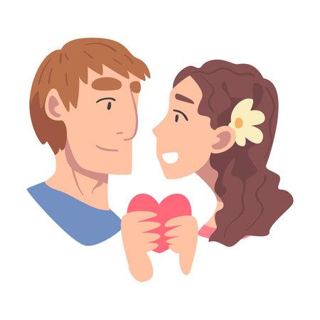 Enamored Couple in Love Holding Heart Feeling Devotion Vector Illustration Ilustración de vector