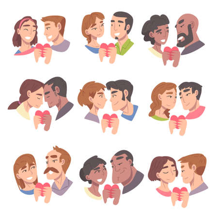 Couples of Male and Female in Love Holding Heart Vector Illustration Set