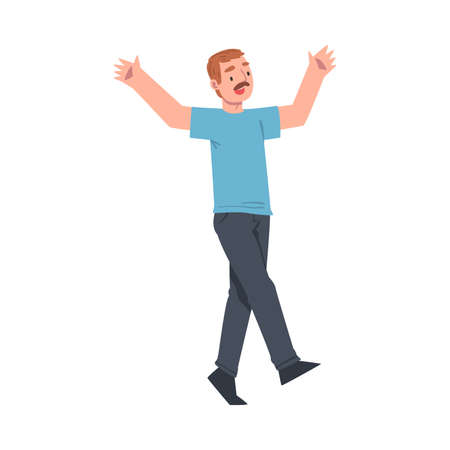 Young Moustached Man Walking with Raising Hands Celebrating Success Vector Illustratio Vettoriali