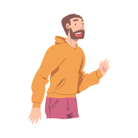 Happy Bearded Male Character Smiling with Joy and Excitement Vector Illustration