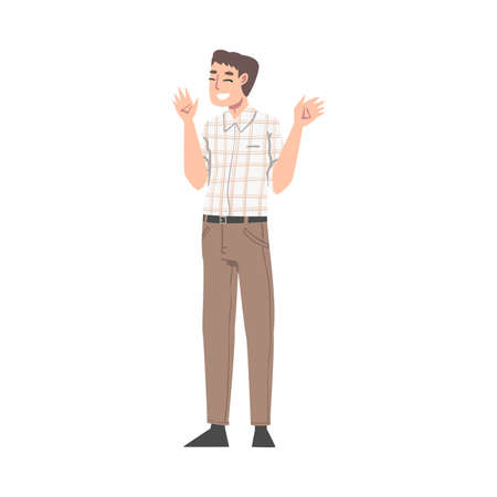 Overjoyed Male Character Waving Hands and Smiling with Joy and Excitement Full Length Vector Illustration