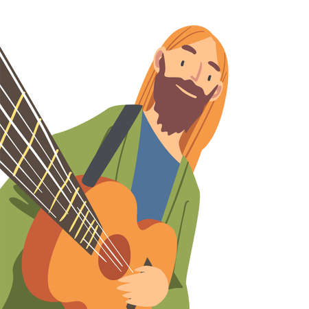 Smiling Bearded Man with Guitar Looking at Camera from Above Vector Illustration 向量圖像