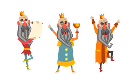 Funny Warlike King Character Set, Old Comic Bald Bearded King Wearing Gold Crown Cartoon Style Vector Illustration