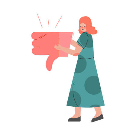 Young Woman Holding Thumb Down Sign in her Hands, Female Follower Giving Dislike Expressing Disagreement to Blogger or Post, Social Media Networking Vector Illustration