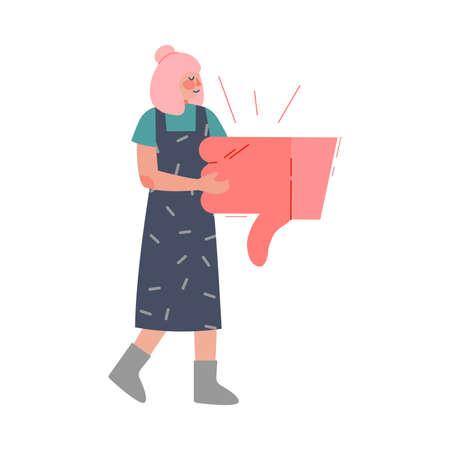 Girl Holding Thumb Down Sign, Female Follower Giving Dislike Expressing Disagreement to Blogger or Post, Social Media Networking Vector Illustration