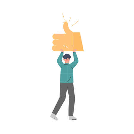 Man Showing Thumb Up Sign in his Hands, Male Follower Giving Like Expressing Agreement to Media Blogger or Post, Social Media Networking Vector Illustration Stock Illustratie