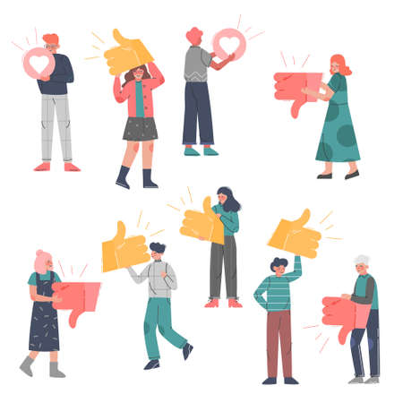 People Holding Vote Signs Set, Followers Giving Like or Dislike Notification Expressing Sign to Agreement or Disagreement to Blogger or Post, Social Media Networking Vector Illustration