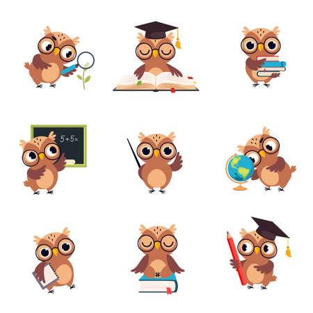 Wise Brown Owl in Various Actions Set, Cute Bird Teacher Cartoon Character Teaching at School Vector Illustration