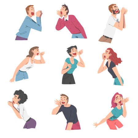People Characters Shouting and Screaming Loud to the Side Holding Hand Near Mouth Vector Illustration Set Ilustración de vector