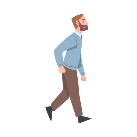 Bearded Man Character Going or Walking Taking Steps Forward Side View Vector Illustration