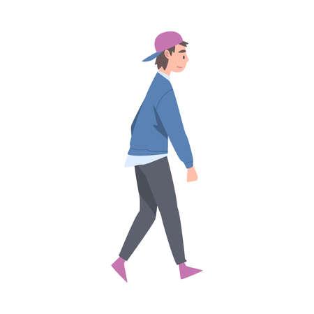 Walking Man Character Taking Steps Forward Side View Vector Illustration