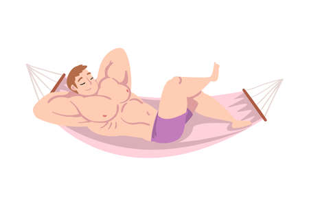 Muscled Male Lying in Hammock and Sleeping Vector Illustration