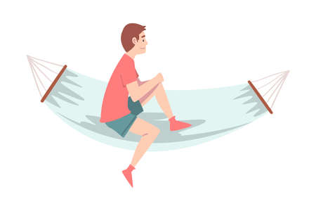 Smiling Male Sitting in Hammock and Looking Ahead Vector Illustration Ilustração
