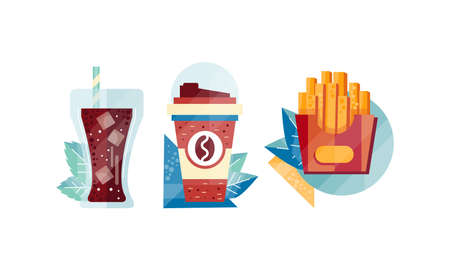 Paper Coffee Cup, Cola Glass with Ice Cubes and French Fries Box Set, Top View of Appetizing Fresh Fast Food Dishes Flat Vector Illustration Illusztráció