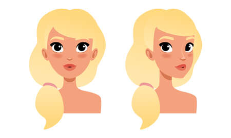 Cute Blonde Girl with Long Hair, Pretty Young Woman Character Creation Detail, Female Person Avatar Cartoon Vector Illustration