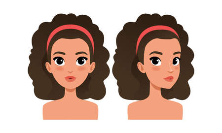 Cute Brunette Girl with Curly Hair, Pretty Young Woman Character Creation Detail, Female Person Avatar Cartoon Vector Illustration