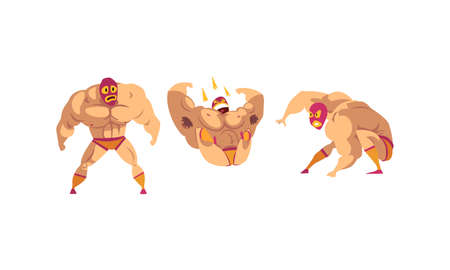 Mexican Wrestler Characters Set, Battle Acrobat Fighters in Mask Cartoon Vector Illustration Ilustração Vetorial