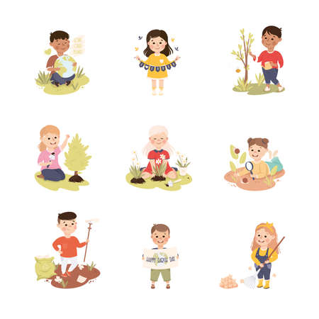 Kids Taking Care of Nature Set, Children Collecting and Sorting Garbage, Planting Tree Saplings, Save the World, Ecology Concept Cartoon Vector Illustration