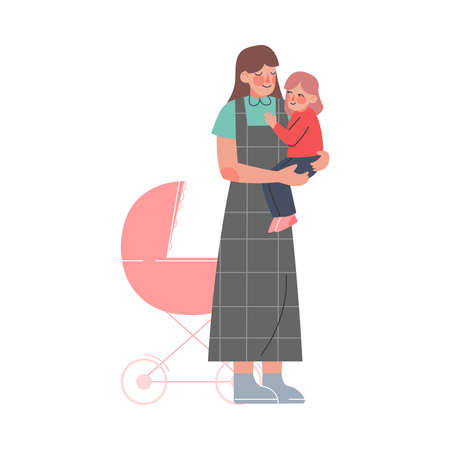 Mom Holding Toddler Baby in her Hands Cartoon Vector Illustration