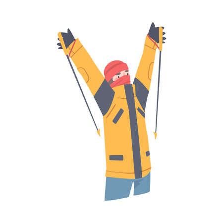 Man Character with Alpenstock Cheering About Ascending Mountain Peak Vector Illustration Иллюстрация