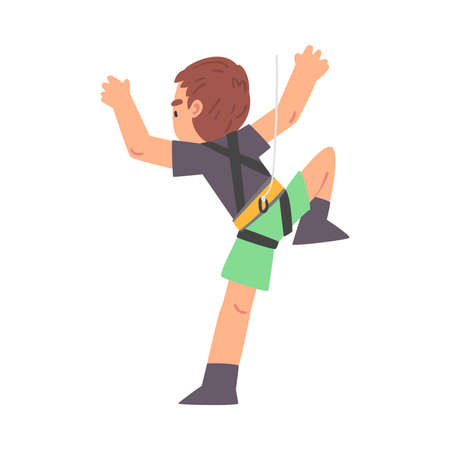 Boy Rock Climber Character, Back View of Cute Kid in Shorts and T-shirt Climbing Wall on Ropes Cartoon Style Vector Illustration