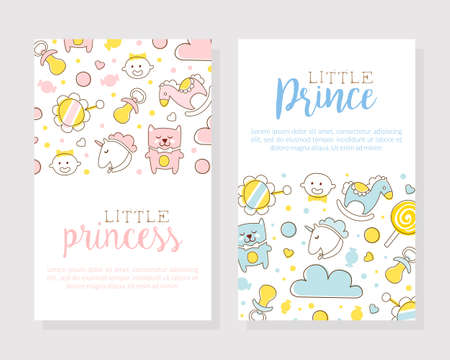 Little Prince and Princess Card Templates Set, Baby Boy and Girl Products Shop, Store Flyer, Brochure, Book Cover, Poster, Iinvitation, Design Cartoon Vector Illustration