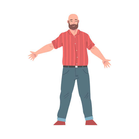 Bearded Man Standing with Wide Open Hands, Welcome Gesture, Solidarity, Friendship, Help and Support Concept Cartoon Style Vector Illustration